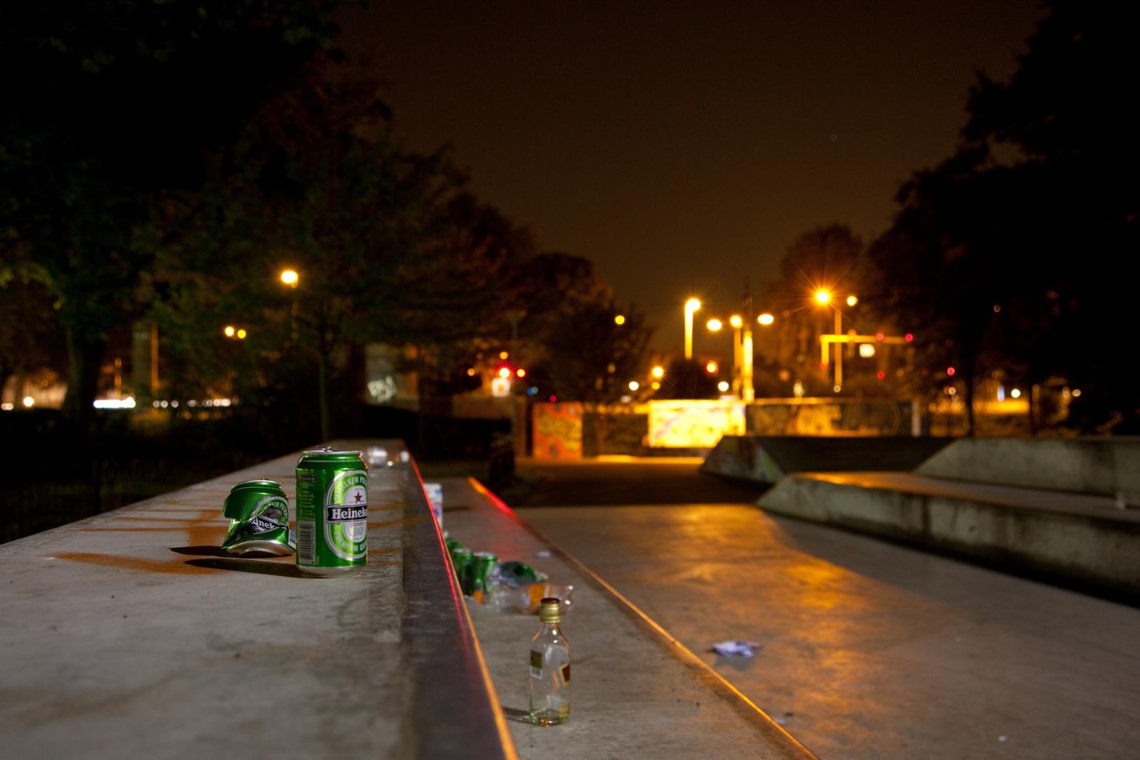 Nachtfoto met weinig scherptediepte op diafragma 4
