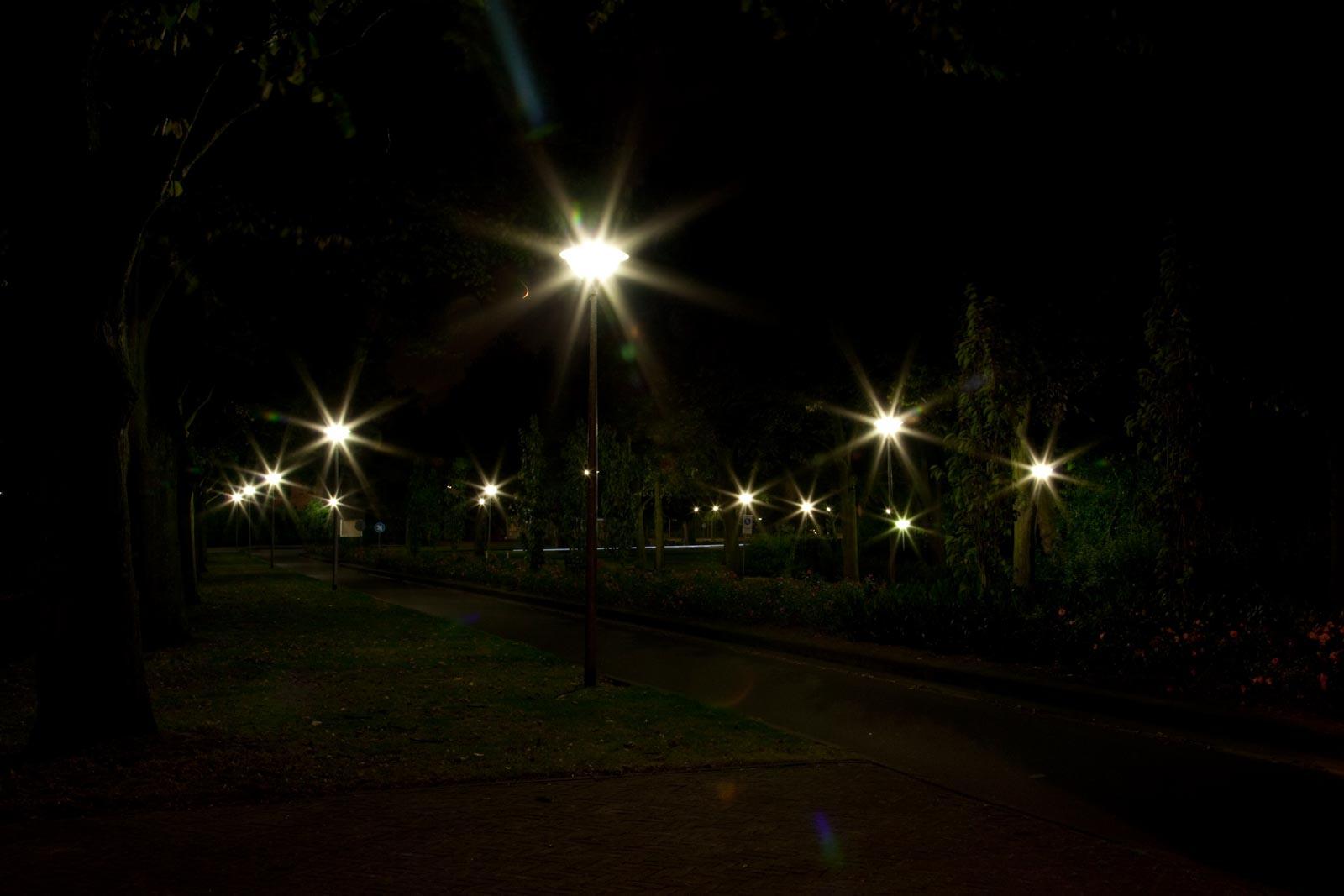 Nachtfoto met stervorming op diafragma 22
