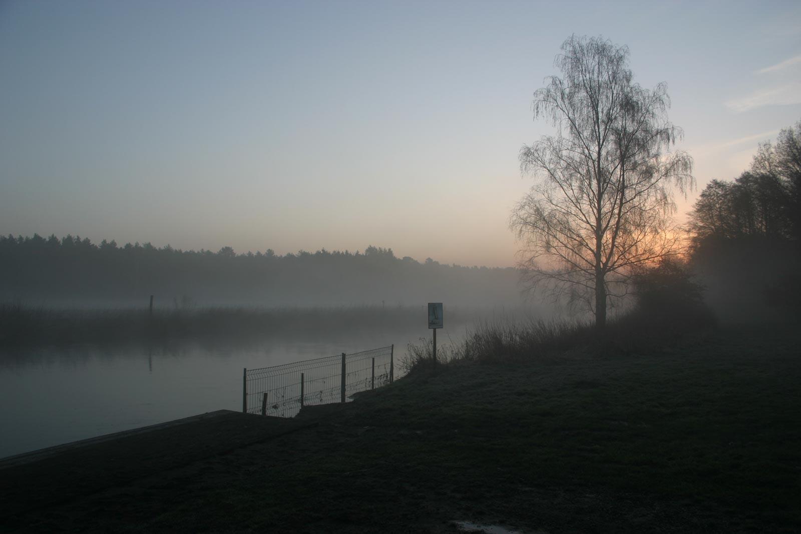 Ochtendschemering in de mist aan het water